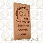 1 Pound lb (16 oz) Element Copper Bullion Bar .999 Fine Flat Rounded Edge Ingot