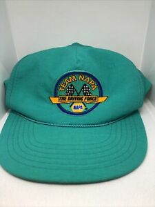 Vintage 80s Team NAPA  Nylon Racing Hat Auto Parts Snapback Cap