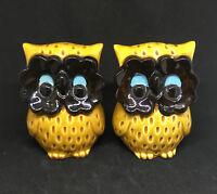 Vintage Japan Brown Woodland Owl Figural Salt and Pepper Shaker Set