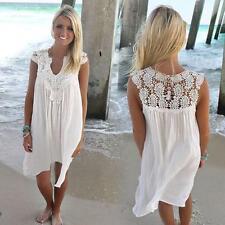 Summer Women Dress Sleeveless Beach Boho Lace Dress Evening Party Mini Dress New