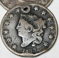 1833 US Large Cent Coronet Head 1C High Grade Details Good US Copper Coin CC2856