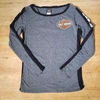 Harley Davidson Womens Sz S Smoky Mountain Gray Graphic Long Sleeve T Shirt