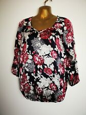 B & M 12 red cream plum silky smart non stretch 3/4 sleeve work occasion blouse