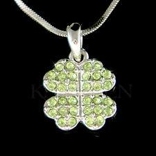 w Swarovski Crystal Irish ~4 Leaf Clover~ St Patricks Shamrock Necklace Jewelry