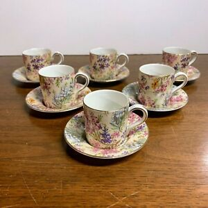 Vintage Lord Nelson Ware Chintz Heather 2750 Demitasse Tea Cup and Saucer 6