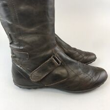 Geox Size 39 US8 UK6 Brown Leather Mid Calf Zip Up Flat Heels Boots Fully Lined