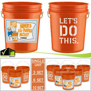 5 GALLON All Purpose Plastic Buckets Homer Pails Paint Utility Job ALL SET PACKS