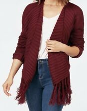 Love Tree Fringey Cardigan Oxblood Red Size Small NEW WITH TAGS!!!