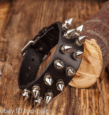 Adjustable Biker Rock Silver Stud Spike Rivet Genuine Leather Wrap Cuff Bracelet