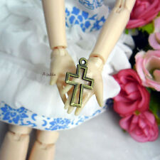 Doll Bjd Necklace DIY Making Crafts Antique Brass Pendant Mini Cross 5pcs Set