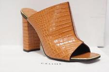 CELINE TAN STAMPED CROCODILE CALFSKIN MULE SANDAL SHOES 37.5/7 $1150