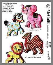 McCall's Stuffed Toys Horse Elephant Lion Camel Transfer Sew Pattern # 2257