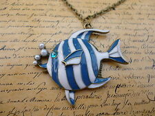 Quirky Kitsch Colourful Bronze Blue and White Fish Animal Sea Necklace
