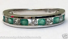 White Gold All Natural Genuine Emerald Anniversary Wedding Band Ring Stackable