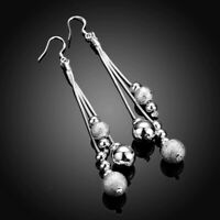 925 Silber Damen Ohrringe Ohrhänger Modern Puristisch Silver Kugel Damen Edel