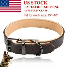 For Large Medium Dogs Heavy Duty Pet Collars Padded Genuine Leather Dog Collar