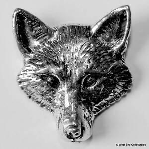 Fox Head Pewter Pin Brooch - British Hand Crafted - Dog Fox Wolf Hunting Animal