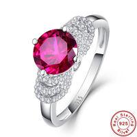 8x8mm 2.3CT Round Cut Gemstone Ruby 925 Sterling Silver Ring Size L½ N½ P½ R½