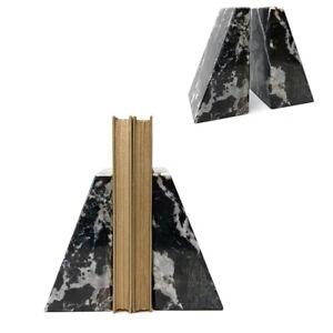 Vintage Modernist Noymer Set Pair Of Black Marble Stone Bookends Minimalist