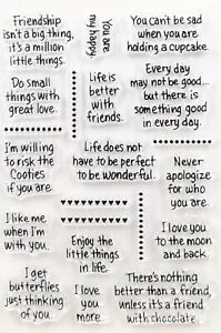 Clear Stamps Friends Friendship Sentiments Birthday Wish Words Card Making