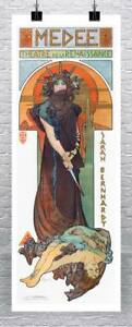 Medee Theater 1898 Alphonse Mucha Art Nouveau Poster Canvas Giclee 17x40 in.