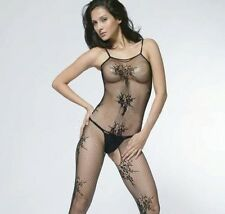 Sexy Black Crotchless Flower Pattern Bedroom Body Stocking Lingerie W3 8-12