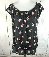LC Lauren Conrad Short Sleeve Floral Top XS Black Flutter Blouse Keyhole Woven
