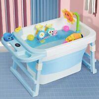 Portable Bathtub Temperature Sensor Baby Bath  Tub Folding Barrel Child Swimming
