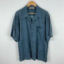 Tommy Bahama Mens Silk Shirt Large Blue Floral Short Sleeve Collared Button Up