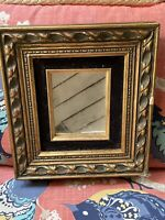 Antique Victorian Gesso Decorated Velvet Liner Picture Frame  Mirror