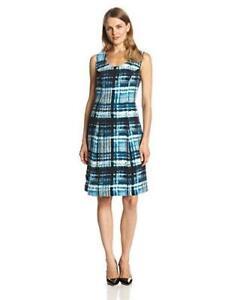 womens blue washed plaid print PENDLETON laura dress MODERN pleat scoopneck S 6
