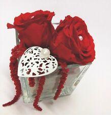 ROSE disidratate stabilizzate  in cubo vetro con cuore  fiori artificiali