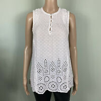 Marc Cain White Cotton Broderie Anglaise Sleeveless Tunic Smock Top Size N2 / 10