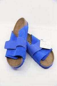 BIRKENSTOCK Kyoto Ultra Blue Natural Cork Leather Sandal Regular Fit US10