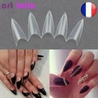 500 Faux Ongles Clair Naturel Blanc Point Aiguille Français Acrylique UV Gel