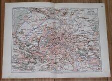 1912 ORIGINAL ANTIQUE CITY MAP OF PARIS AND VICINITY / FRANCE