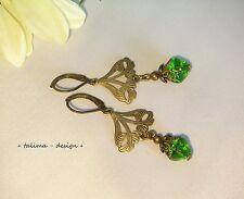 Ohrringe Bronze Ornament grün nostalgisch Vintage Jugendstil  + handmade +