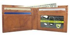 Men's Genuine Leather RFID Security Tan Billfold Wallet With Inside Zipper