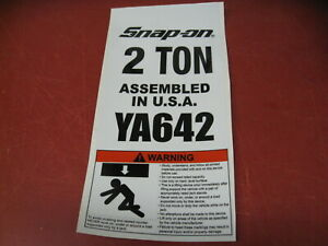 Snap on Tools YA642-LO Safety Label Sticker for YA-642 Floor Jack