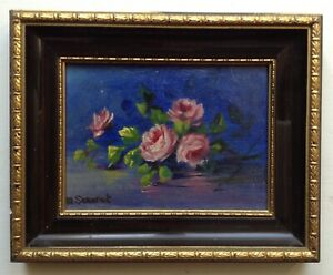 Beautiful Impressionism Miniature French Oil Painting  Roses Branch Signed