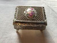 Vintage Jewelry Trinket Small Metal Box Made in Japan