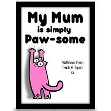 Birthday gift for Mum Mummy from CAT Personalised Mothers day A4 gloss Print
