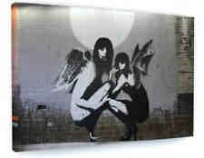 BANKSY STYLE GIRLS ANGEL AND DEMON CANVAS PICTURE PRINT CHUNKY FRAME LARGE #A349