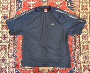 Oakley Factory Large Pilot Dark Blue Short Sleeve Cycling Athletic Shirt