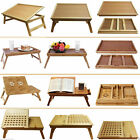DELUXE LARGE MEDIUM WOODEN BAMBOO LAPTOP TRAY TABLE DESK BED FOLDING ADJUSTABLE