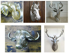 Wall Mounted Animal Heads Horse Bull Cow Stag Garden Ornament Metal Resin Decor