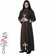 Adult Minister of Death Costume Mens Zombie Priest Fancy Dress Halloween Outfit