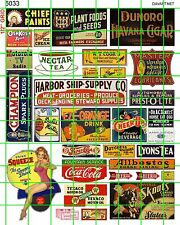 5033 MIXED MID CENTURY SIGNS COLA DRY GOODS GAS/OIL SHOES MORE DAVE'S DECALS
