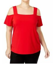 Inc International Concepts Plus Size Red Strappy Cold-shoulder Top 1x