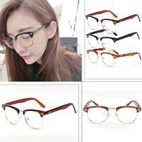 Women's Retro Fashion Clear Lens Glasses Designer Vintage Half Frame Eyewear